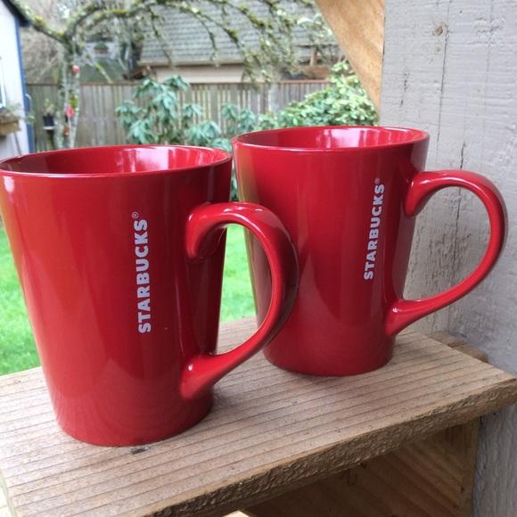 Starbucks red mugs 13oz. Simple bold red. 2016